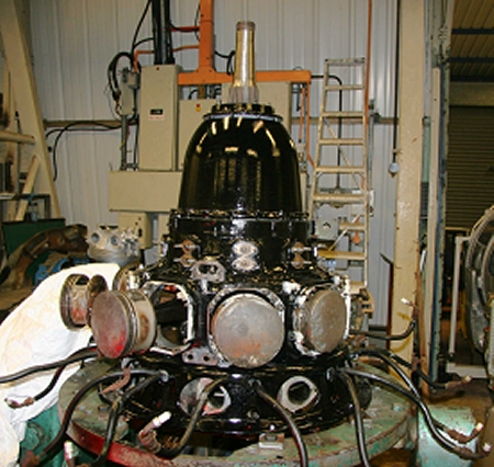 Mercury engine during re-assembly