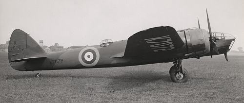 The Bristol-built Bolingbroke prototype, K7072, at Filton. This was later sent to Canada as a pattern