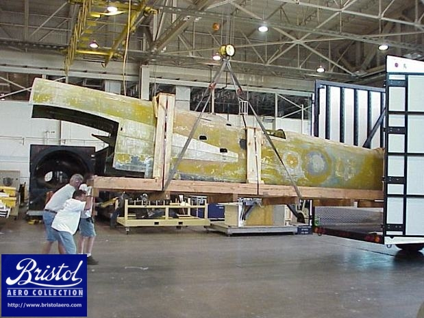 Next the rear fuselage was loaded. The use of an overhead crane made the job much easier