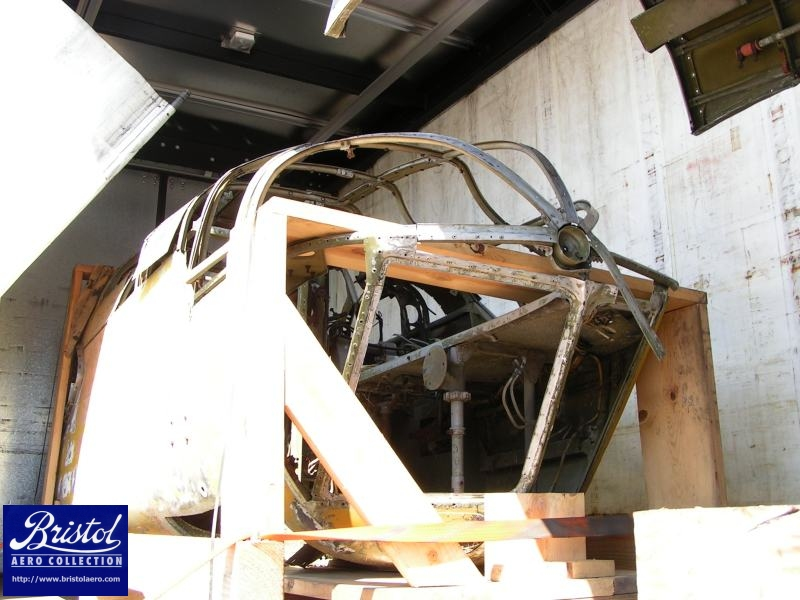 The forward fuselage, showing how much of the nose was glazing.