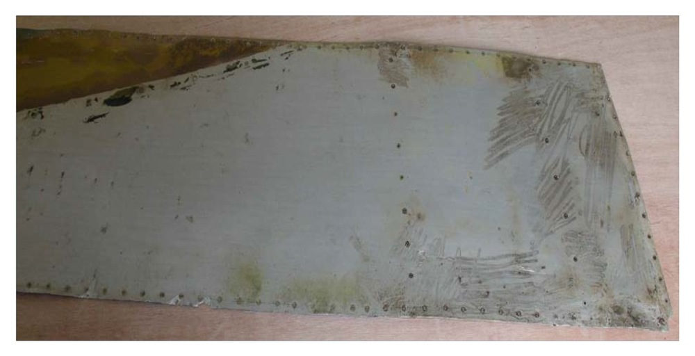 The skin panel from the previous photo now carefully restored to shape.