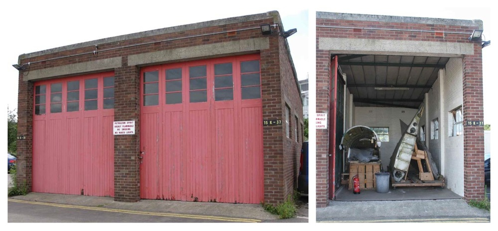 The outer wings and rear fuselage now in storage in the old fire station building