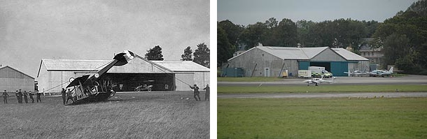 The smaller flight shed, as it was around 1916, and in 2012.