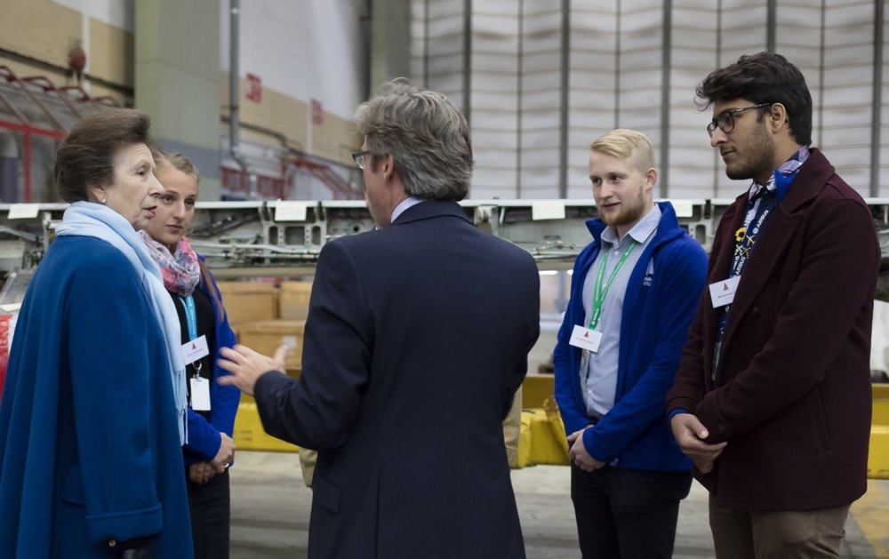 HRH The Princess Royal meets with Lloyd Burnell, Executive Director and Aerospace Bristol volunteers