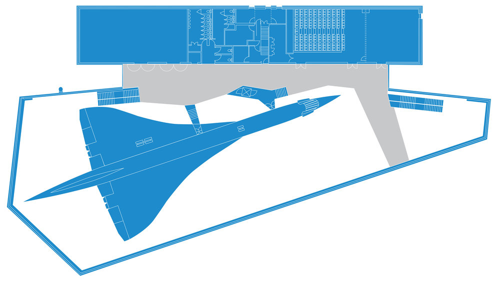 Click to enlarge the image above to view The Concorde Gallery (white) and The Concorde Balcony (grey)