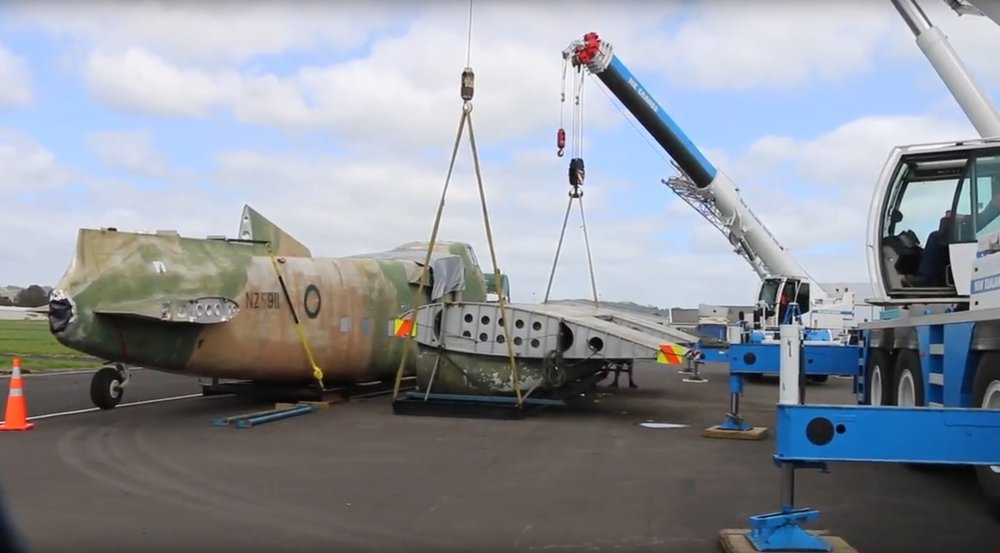 The journey begins - Loading the Freighter and its wings on to lorries for transportation from Aardmore Field (Photo credit: Airflow NZ)