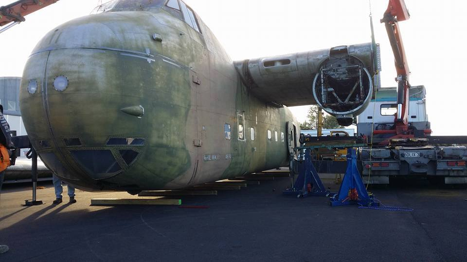 Getting ready to move - The Freighter's wings are removed ready for the long journey to Filton