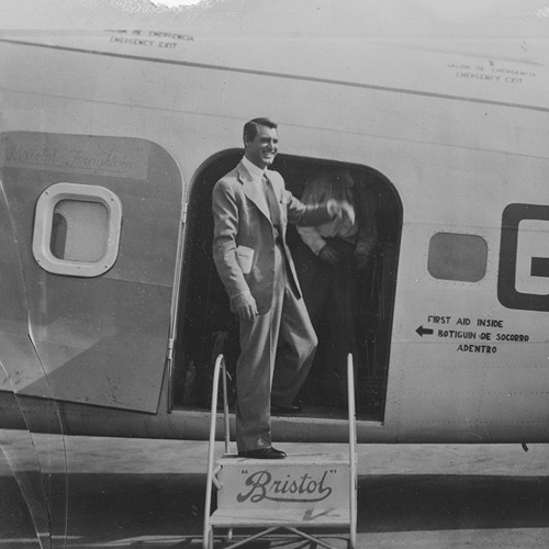 Bristol-born Hollywood film star Cary Grant alighting from Freighter at Los Angeles,  13 Jan 1947