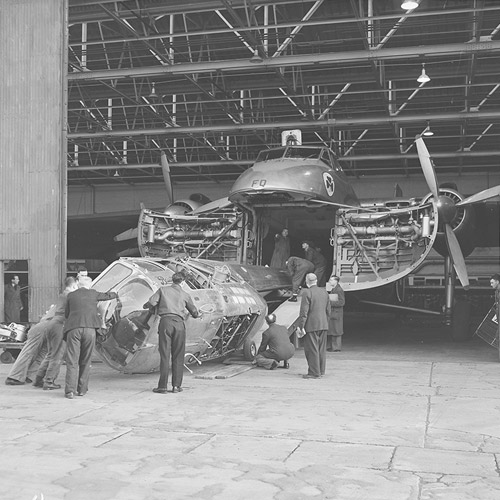 Loading Bristol helicopter into a Bristol Freighter
