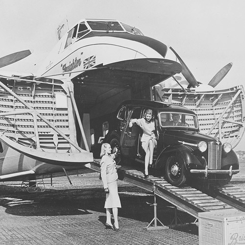 Freighter with Austin car on ramp, 15 Oct 1946