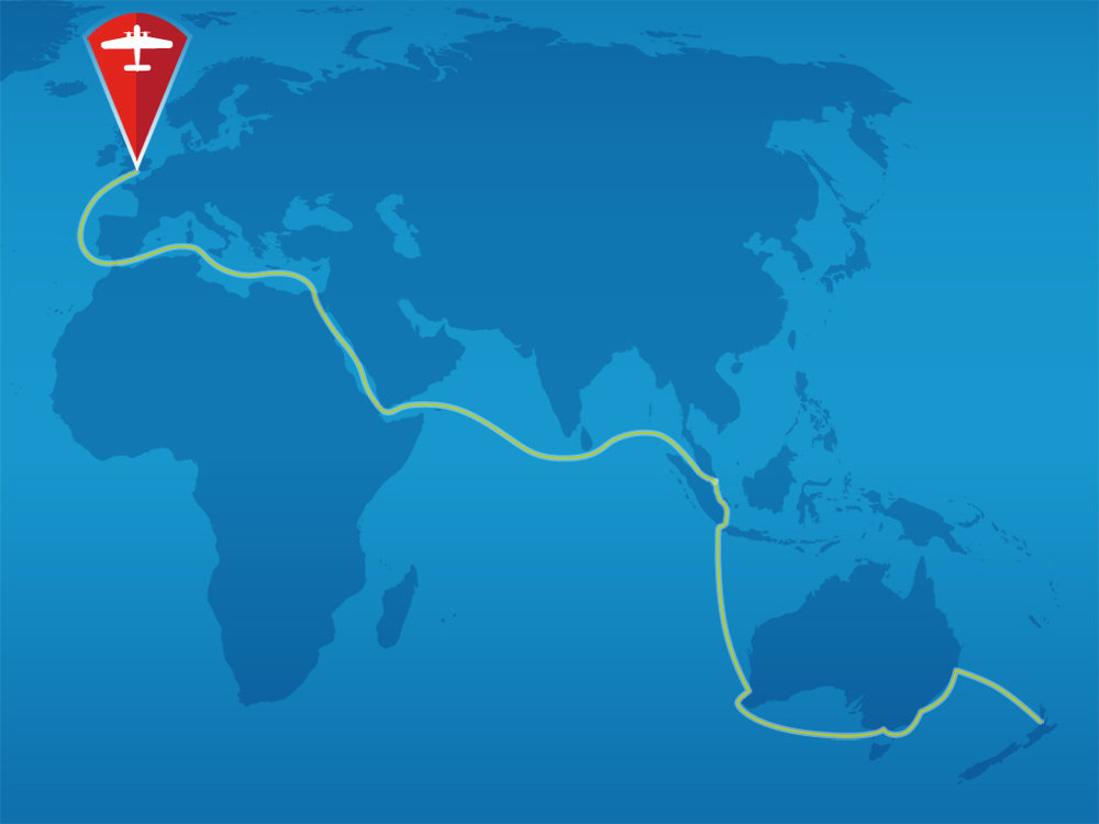 Map of the Freighter's journey home to Bristol