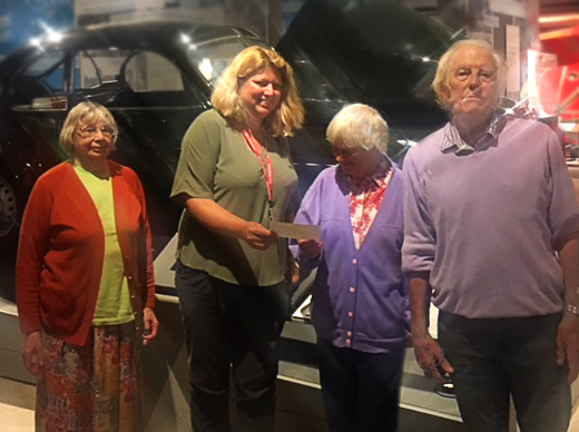 Above: Jane Tozer, Jackie Sims and Stan Sims present the donation to Linda Coode (second left), Collections Manager at Aerospace Bristol.  Peggy Allen was not present for the photo.