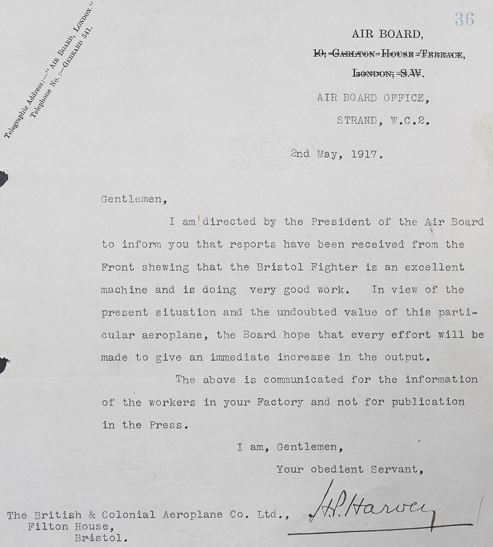 A letter praising the Bristol Fighter aircraft 1917.