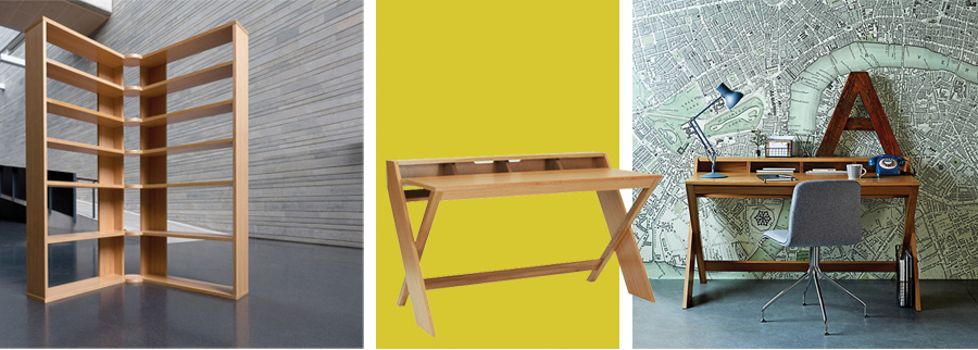 Hinge Shelves  designed for Heal's and  Ravenscroft Desk  ,  were both short listed for the   2012 Wood Awards   Furniture - Production Made.
