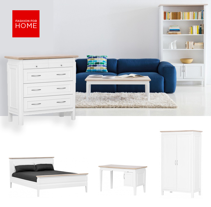 Pictured above (L-R) Precotto Bedroom - 5 drawer chest; Precotto Living - coffee table & bookcase Precotto Bedroom - bed with high foot; Precotto Living - writing desk; Precotto Bedroom - wardrobe
