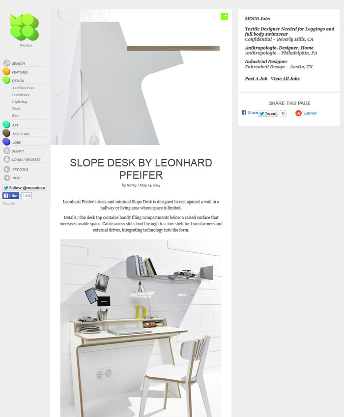 Slope Desk on MocoLoco