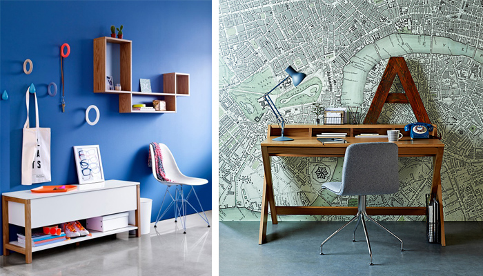 Spring Summer 2014 John Lewis Home catalogue (L-R)  Northgate flip-top bench ,  Donato wall storage box  and  Ravenscroft desk