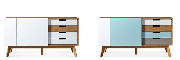 Belsham Sideboard (AKA Chaser) in  white & oak  and  blue tints & oak