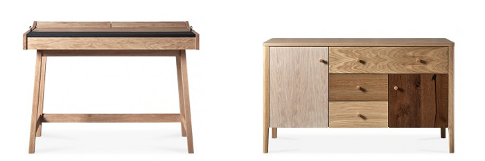 Rowan Desk (AKA Brompton ) oak & reconstituted leather top; Carson Sideboard (AKA Villa) stained oak