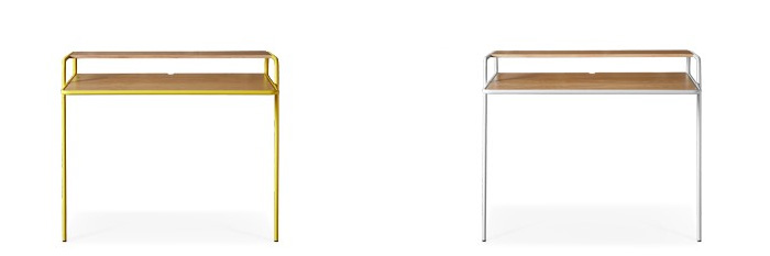 "Hans ""leaning"" Desk (AKA Bisceglie Leaning Desk) in oak & yellow and oak & white"