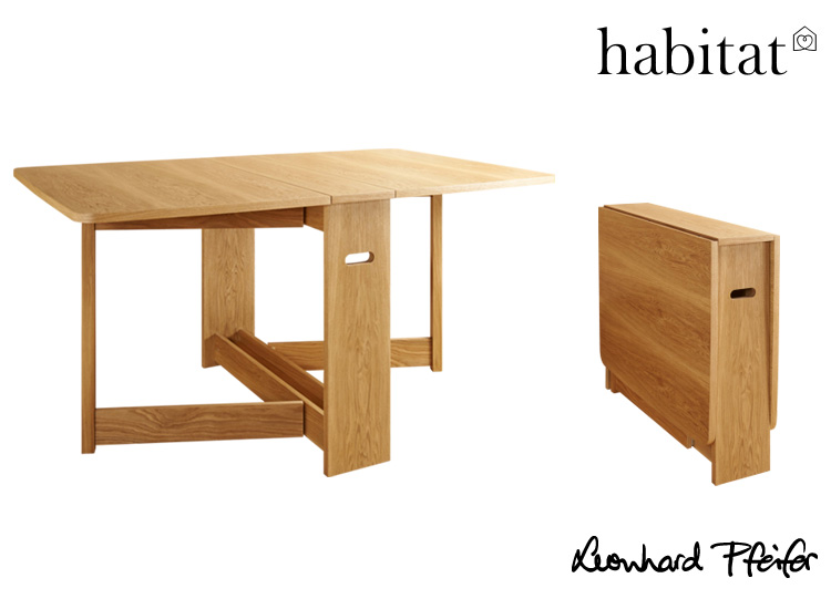 A versatile space saving piece, the CROYDE DROP-LEAF DINING TABLE, in NATURAL, from Habitat France