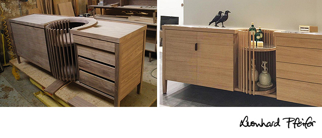 Carousel sideboard in the WeWood factory in Portugal, and also available in Oak and Marble.