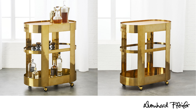 Paloma Brass Bar Cart