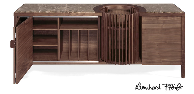 Carousel Sideboard by Leonhard Pfeifer for WeWood Portuguese Joinery, shown in solid walnut and Portuguese marble