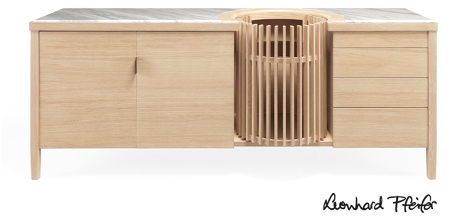 Carousel Sideboard by Leonhard Pfeifer for WeWood Portuguese Joinery, shown in solid oak and Portuguesemarble