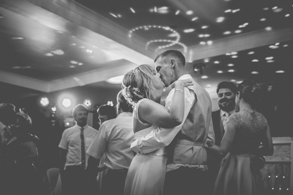 bride and groom having first dance at Berry Head Hotel