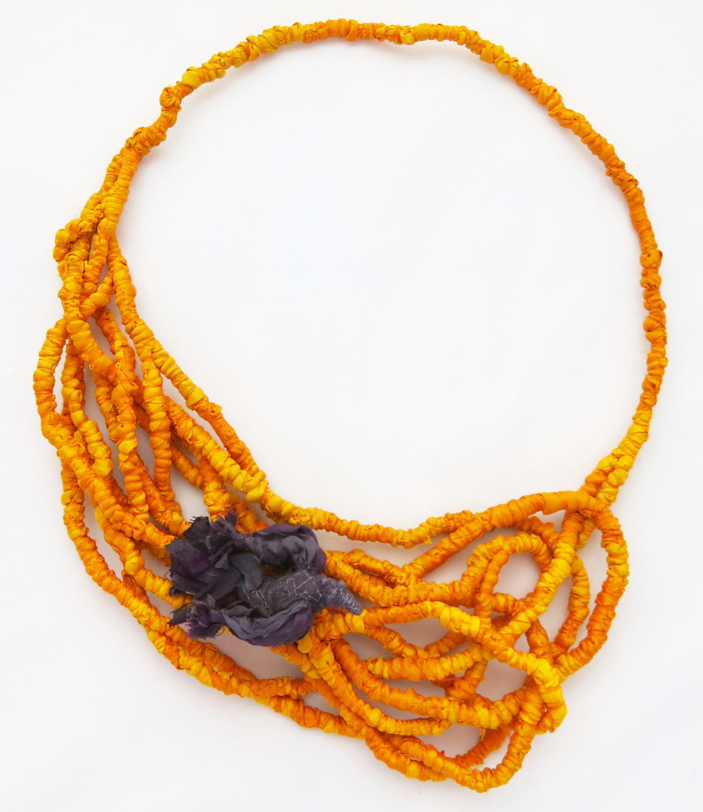 Harvest – Francesca Cecchini (2014), necklace // Materials: repurposed sari silk, thread, copper wire.