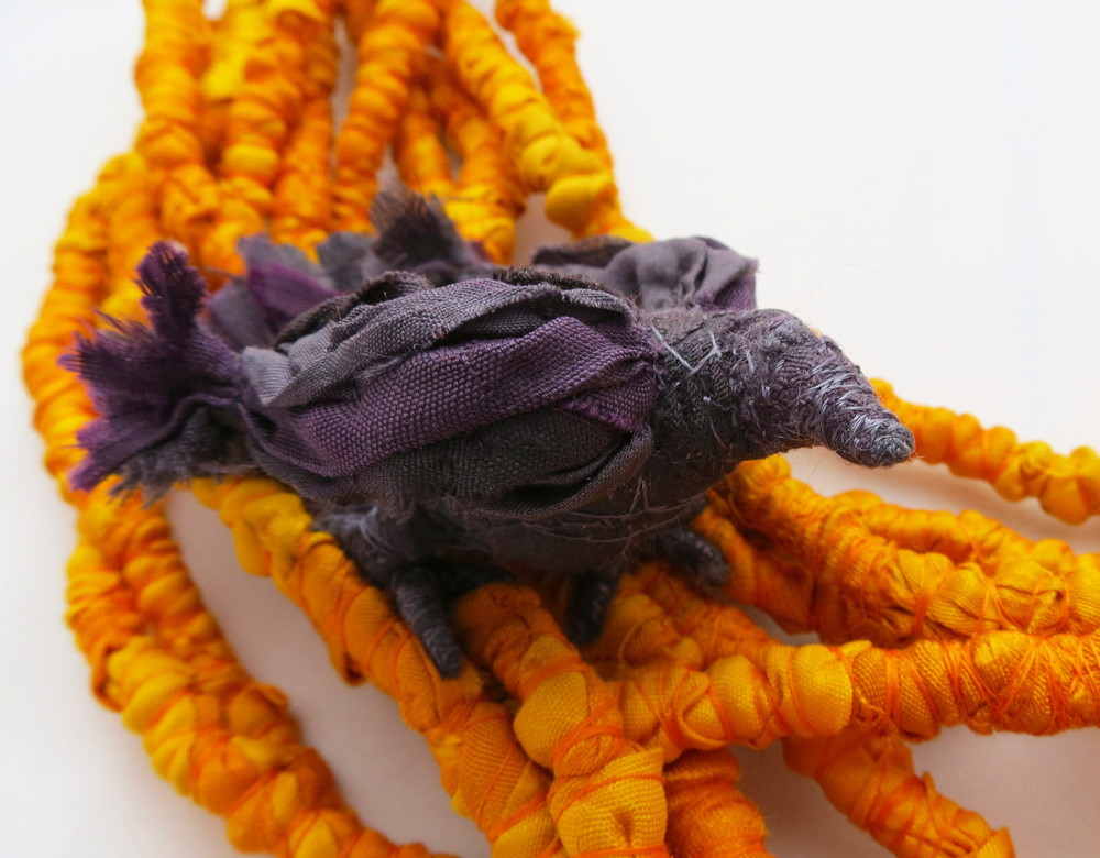 Harvest – Francesca Cecchini (2014), necklace (detail) // Materials: repurposed sari silk, thread, copper wire.
