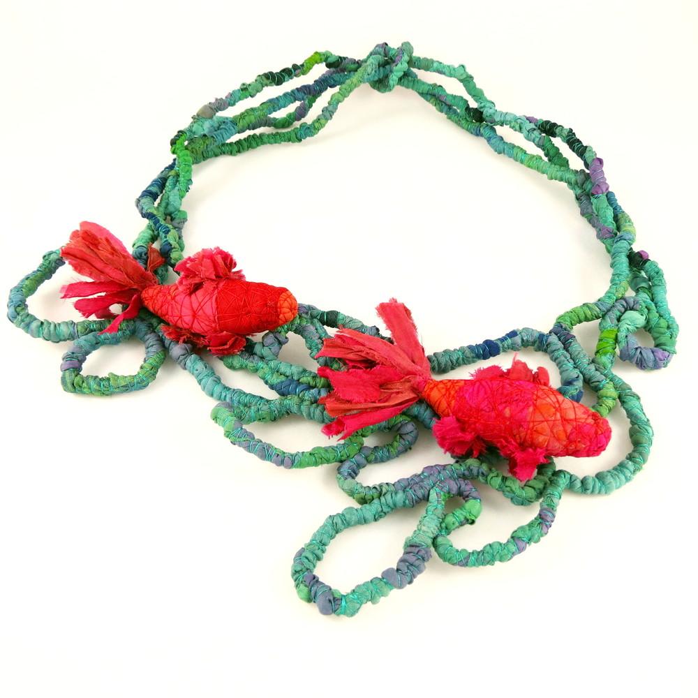 In the Pond – Francesca Cecchini (2014), necklace // Materials: repurposed sari silk, silk thread, copper wire.