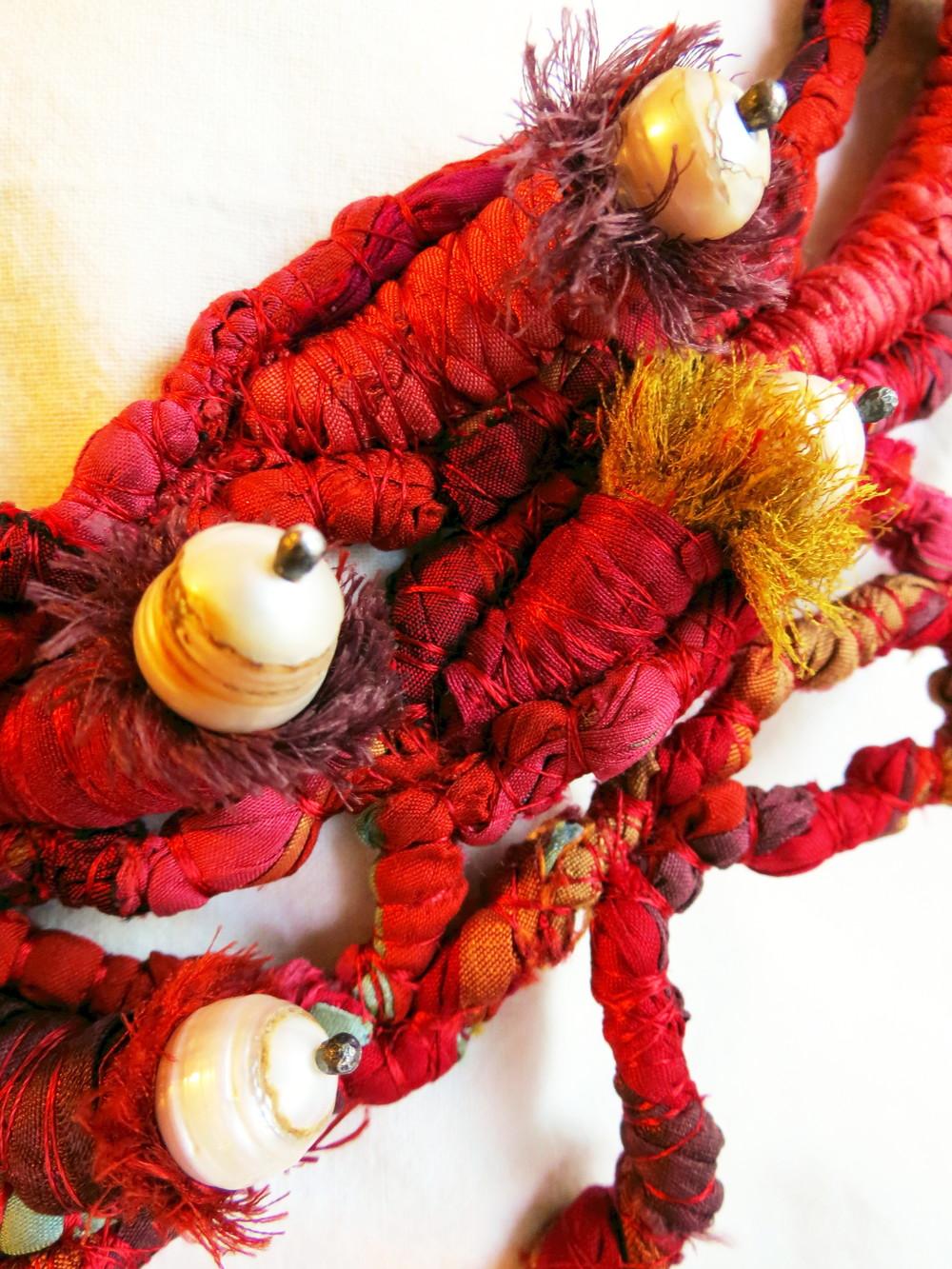 Mar Adentro - Francesca Cecchini (2013), necklace (detail) // Materials: repurposed sari silk, baroque pearls, oxidised silver, silk thread.
