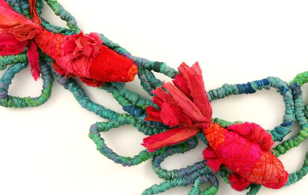 In the Pond – Francesca Cecchini (2014), necklace (detail) // Materials: repurposed sari silk, silk thread, copper wire.