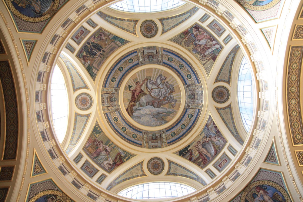 Ceiling of the entrance hall to the historic hot water baths