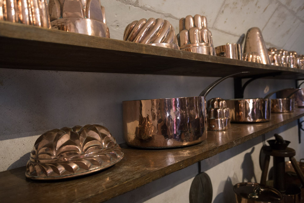 As a foodie that loves to bake, I was fascinated with the copper cookware in the downstairs kitchen