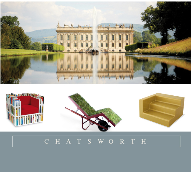 "The stunning Chatsworth Estate in Derbyshire England will be hosting a special exhibition in March of 2015 entitled ""Make Yourself Comfortable"".  Bibliochaise by Nobody&co, Chaiselawn by Deger Cengiz and Fragment of a Staircase by Lilianna Ovale have all been selected. We are excited that Outdoorz Gallery will be participating in this exciting event.  More details in the months to come."
