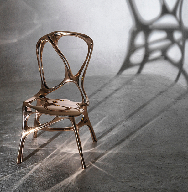 This latest chair from Peter Donders exemplifies his skill as both a designer and a technician.  The 3D bronze cast has one continuous surface and a brilliant finish.  Also available in aluminum. Contact us to find out more.