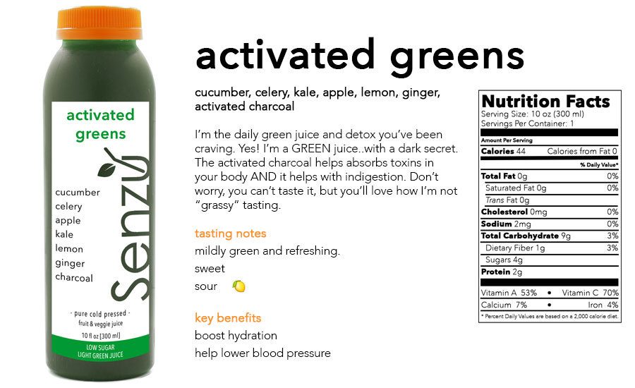 Activated Greens is an easy to drink green juice that packs only 4 grams of sugar, but is chock full of greens