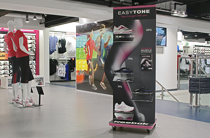 Point of Sale - Design for store branding needs to be flexible and stand-out. From intelligent ways to brand footwear on shelf, to tactical promotions and wayfinding in-store, we'll maximise stand-out for consistent brand impact.