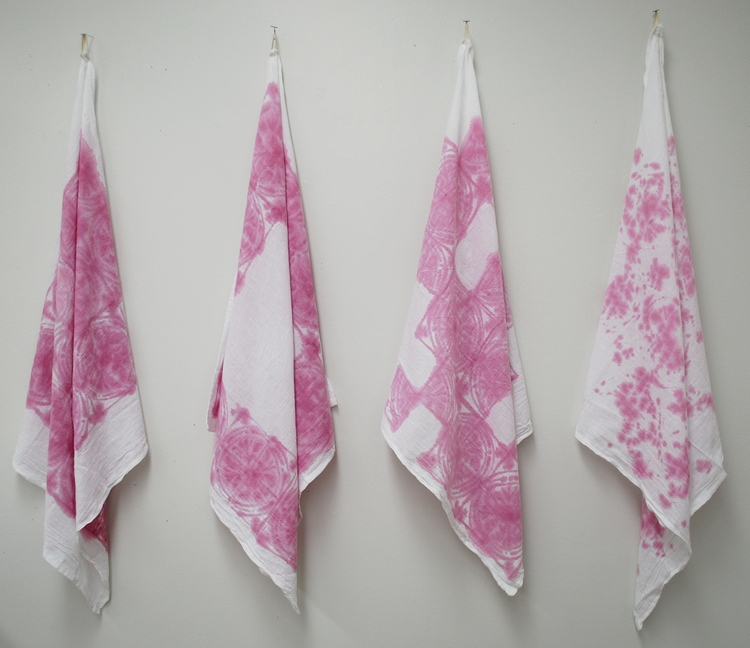 Blood Orange Towels , 2014  blood orange juice on cotton