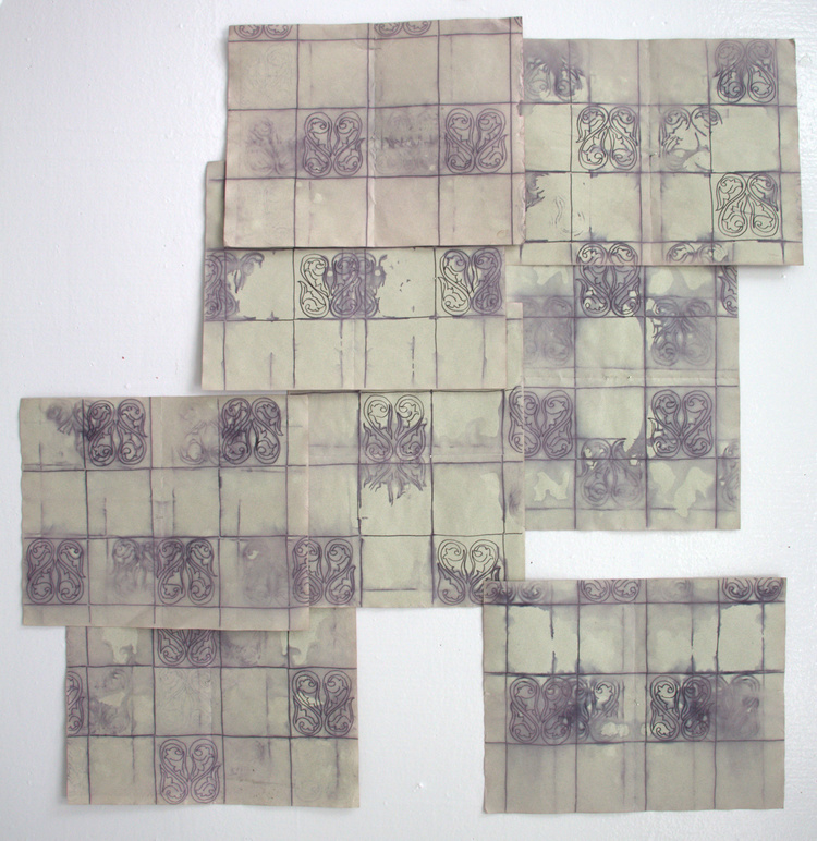 Tile Drawings , 2013  ink, paper, beet juice