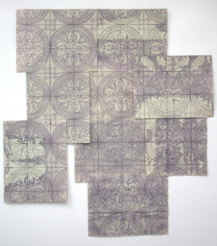 Tile Drawings ,2013  ink, paper, beet juice
