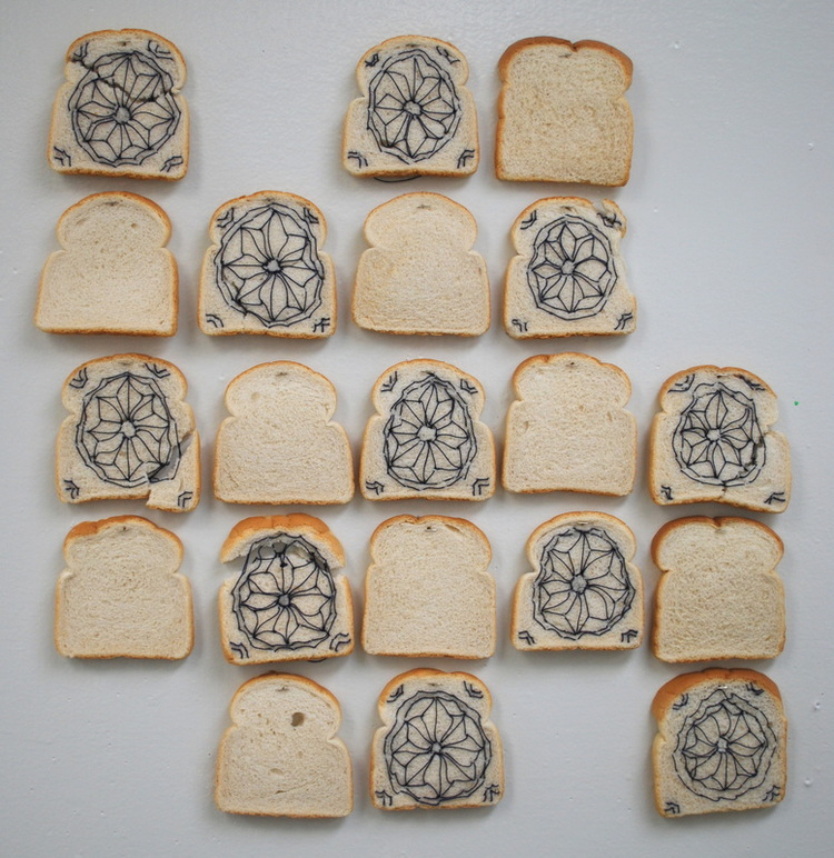 Bread Tiles,  2013  bread and thread