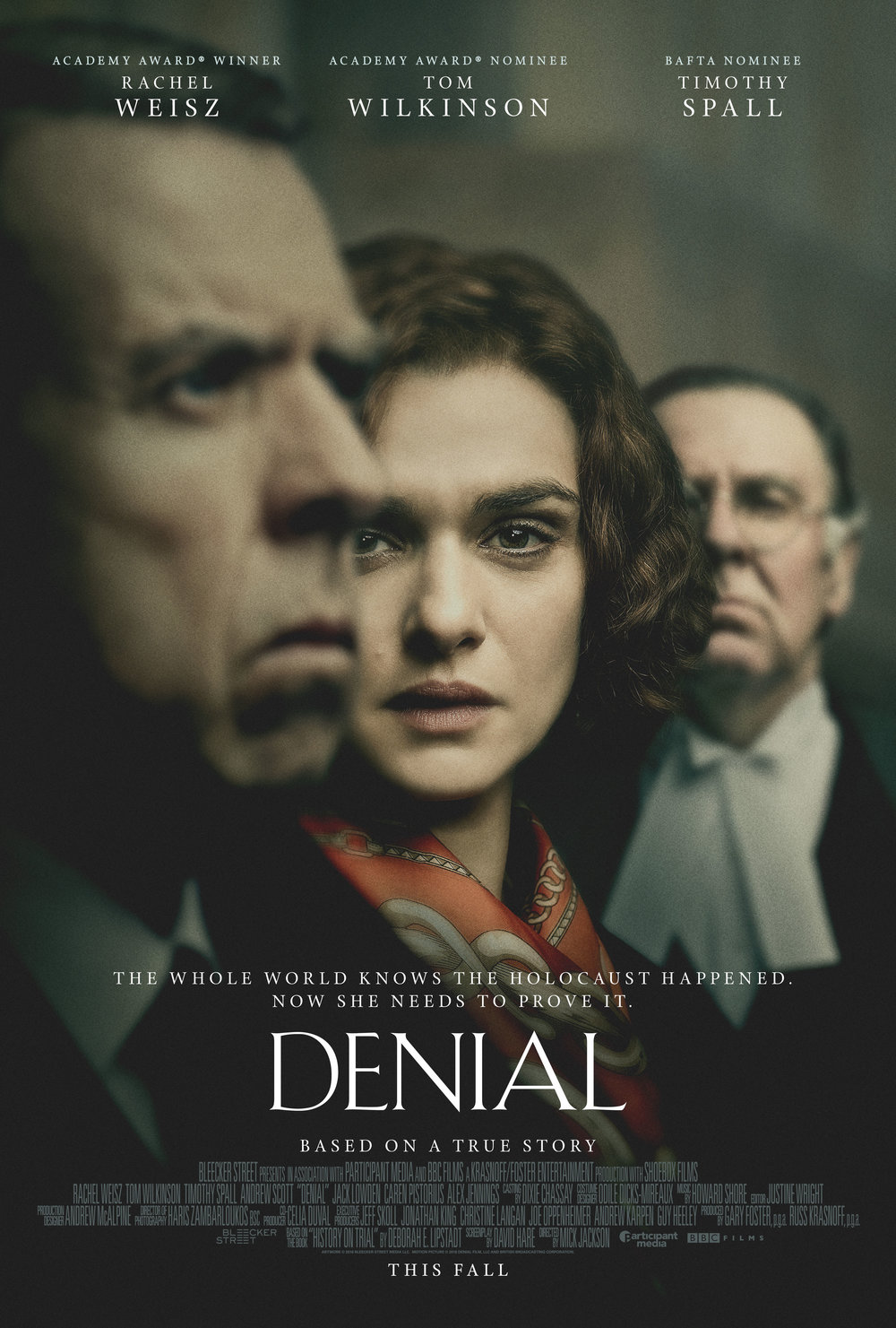 Denial one sheet with Rachel Weisz, Timothy Spall, and Tom Wilkinson