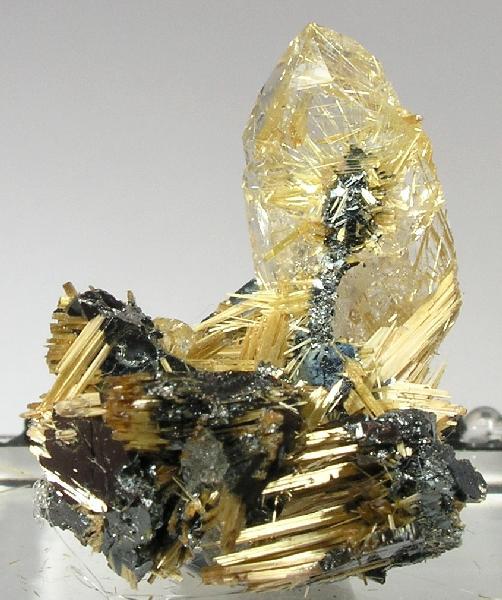 libutron :       Quartz, Rutile, Hematite  |  ©Fine Mineral Galleries | iRocks.com     Novo Horizonte, Bahia, Northeast Region, Brazil.