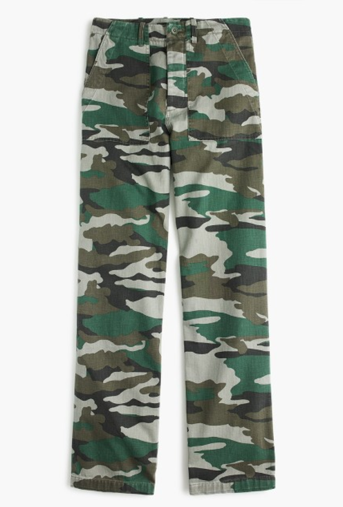 camouflage patch-pocket pants