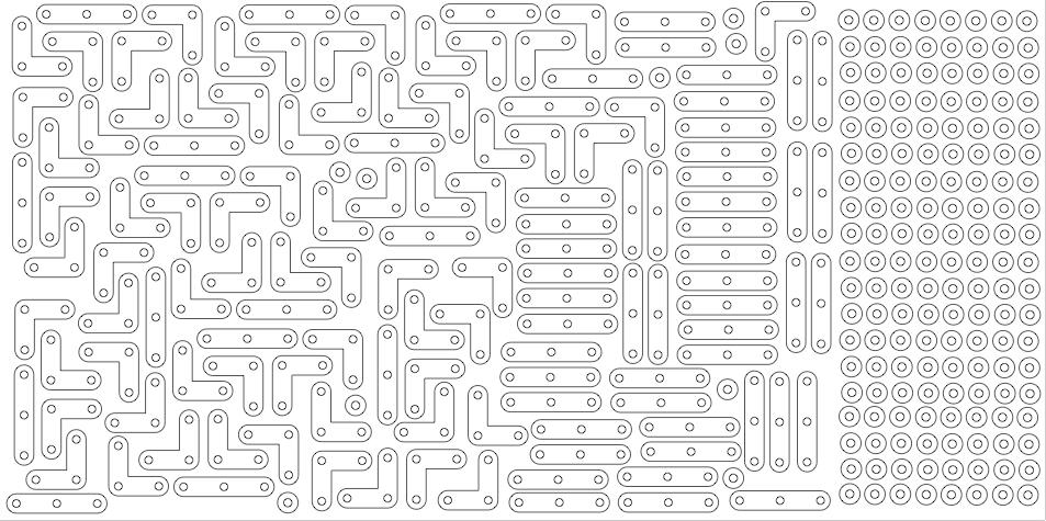 Self-avoiding walk piece layout for laser cutter