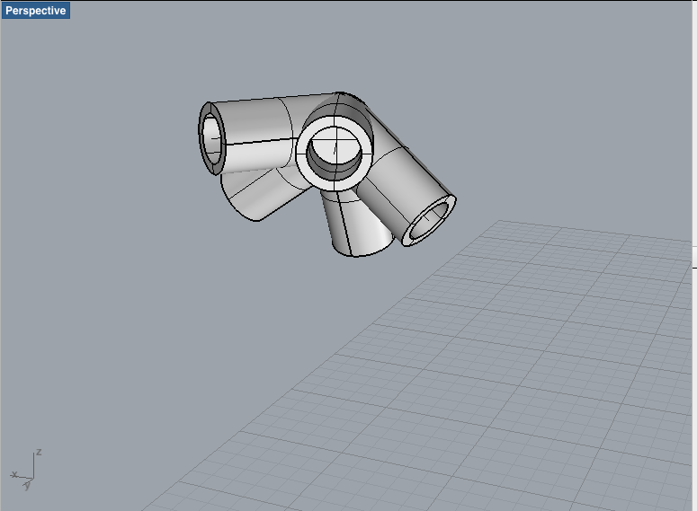Icosahedron vertex connector modeled in Rhino